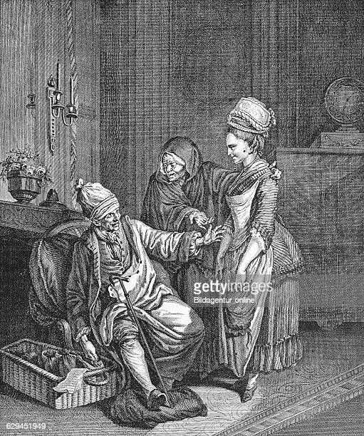 The matchmaker with their goods french copper engraving by wille de fils 1850