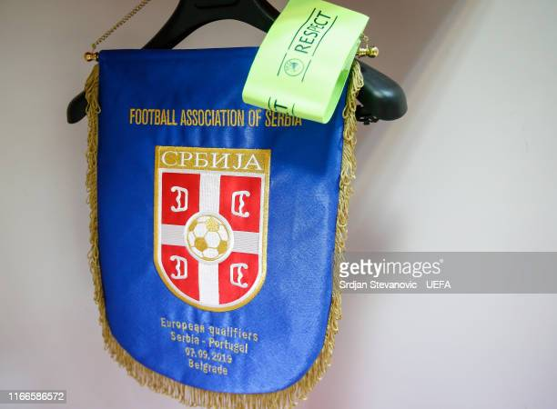 The match's pennant in the dressing room of Serbia prior to the UEFA Euro 2020 qualifier between Serbia and Portugal at Stadium Crvena Zvezda on...
