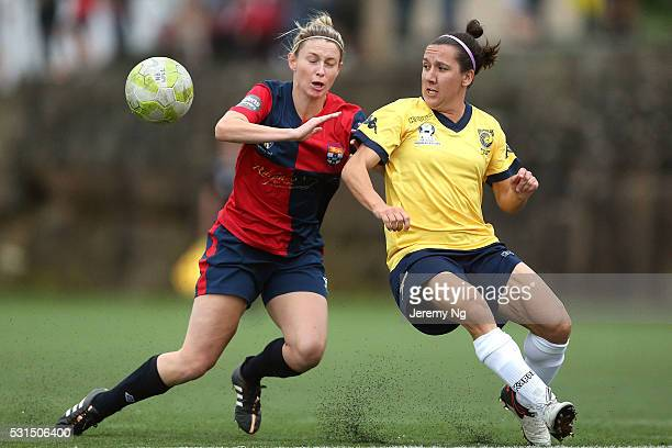 The Matildas captain Lisa De Vanna and Elizabeth O'Reilly of Sydney University challenge for the ball during the NPL 1 NSW Womens Round 6 match...