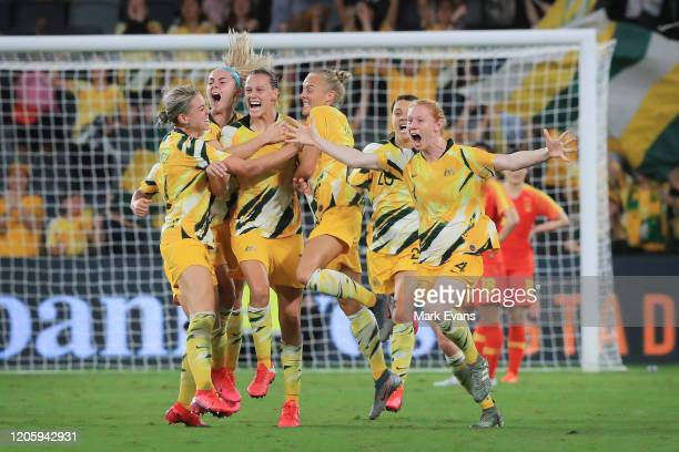 The Matildas celebrate a Emily van Egmond goal during the Women's Olympic Football Tournament Qualifier between Australia and China PR at Bankwest...