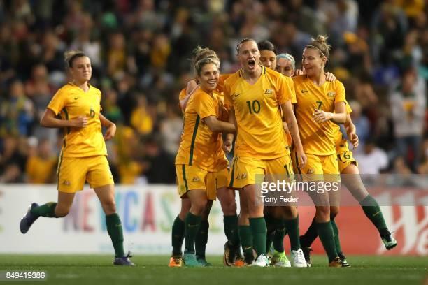 The Matildas celebrate a goal during the Women's International match between the Australian Matildas and Brazil at McDonald Jones Stadium on...