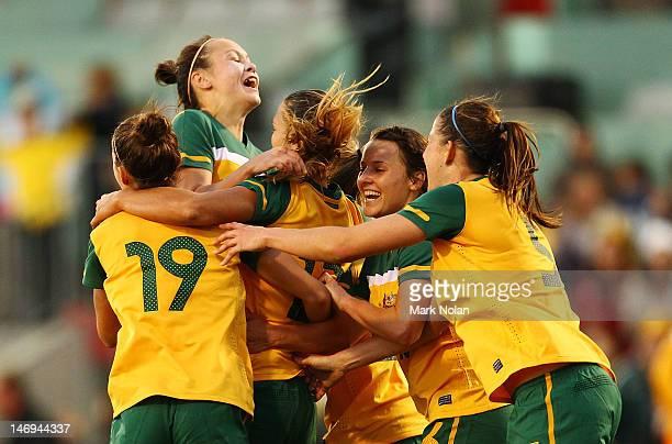 The Matildas celebrate a last minute goal by Thea Slatyer during the women's international friendly match between the Australian Matildas and New...