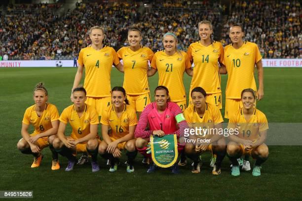 The Matildas line up before the start of the match during the Women's International match between the Australian Matildas and Brazil at McDonald...