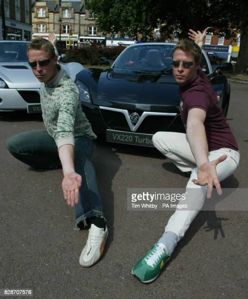 The Matrix Reloaded's 'Evil Twins', actors Neil and Adrian Rayment taking delivery of their new Vauxhall VX220 Turbo sports cars in north London. *...