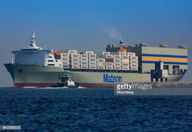 The Matson Inc Mokihana cargo ship enters the Port of Long Beach in Long Beach California US on Wednesday April 4 2018 The US trade deficit widened...