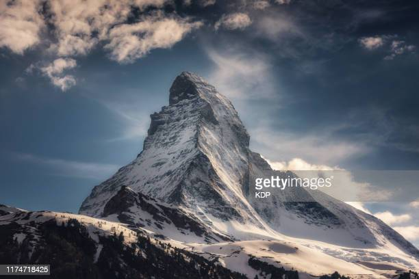 the matterhorn mountain, zermatt, switzerland, landscape natural scenery of matterhorn mountain peak at daylight. scenics nature outdoors of swiss alps, explore destination and europe travel vacation - summit stock pictures, royalty-free photos & images