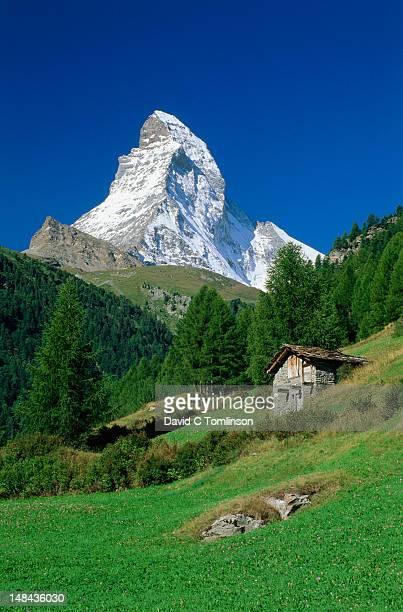 The Matterhorn towering above green pastures, wooden hut prominent.