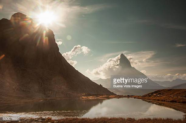 the matterhorn, view from riffelsee - switzerland stock pictures, royalty-free photos & images