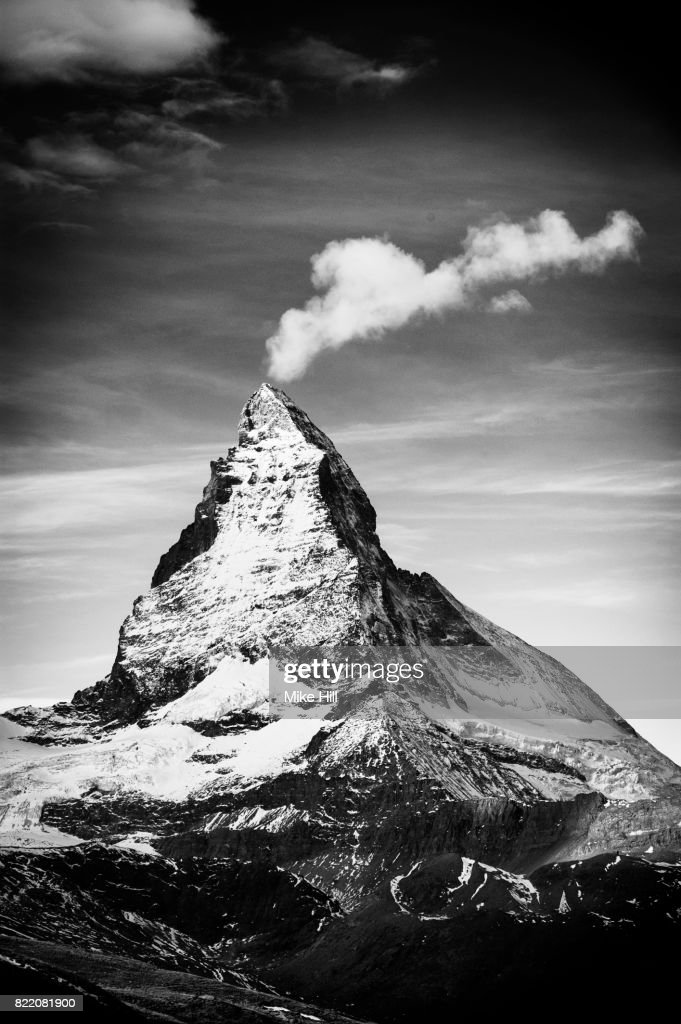 The Matterhorn,and wispy cloud, Swiss Alps : Stock Photo