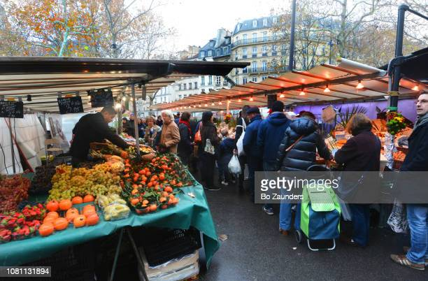 The Maubert market on the edge of Boulevard Saint-Germain, in Paris, France.