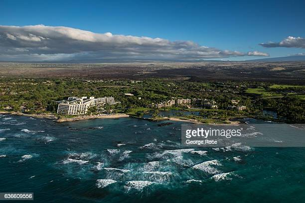 The Mauna Lani Bay Hotel Bungalows constructed on an old lava rock bed is viewed on December 16 in this aerial photo taken along the Kona Kohala...