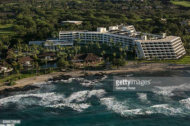 The Mauna Lani Bay Hotel Bungalows is viewed on December 16 in this aerial photo taken along the Kona Kohala Coast Hawaii Hawaii the largest of all...