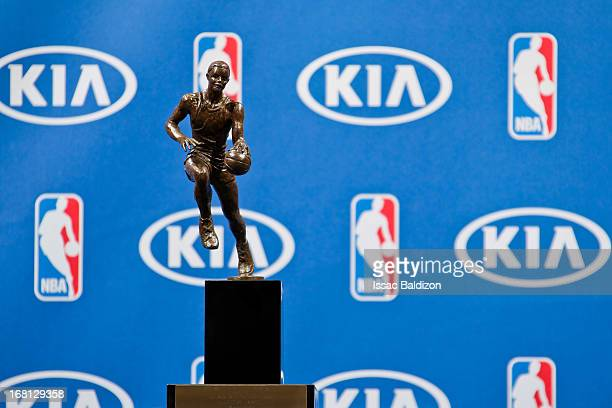 The Maurice Podoloff Trophy is displayed before being presented to LeBron James of the Miami Heat after he was named the 2012-2013 Kia NBA Most...