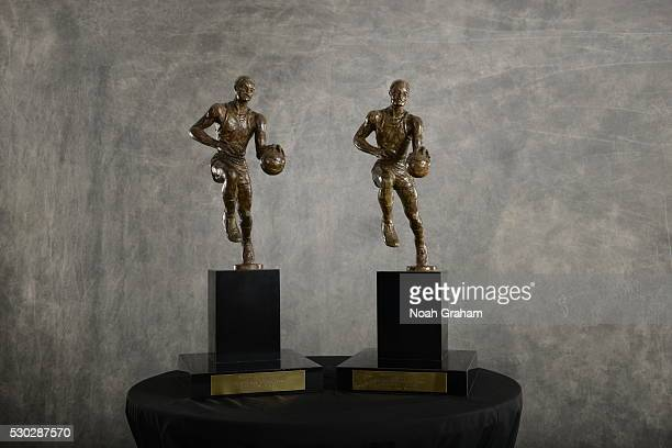 The Maurice Podoloff Trophy is seen after Stephen Curry was awarded the 201516 Kia Most Valuable Player Award on May 10 2016 at Oracle Arena in...