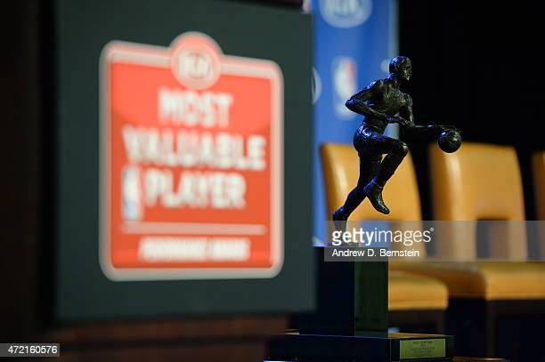 The Maurice Podoloff Trophy trophy during the 2014-15 Kia NBA Most Valuable Player Award presentation at Oakland Convention Center on May 04, 2015 in...