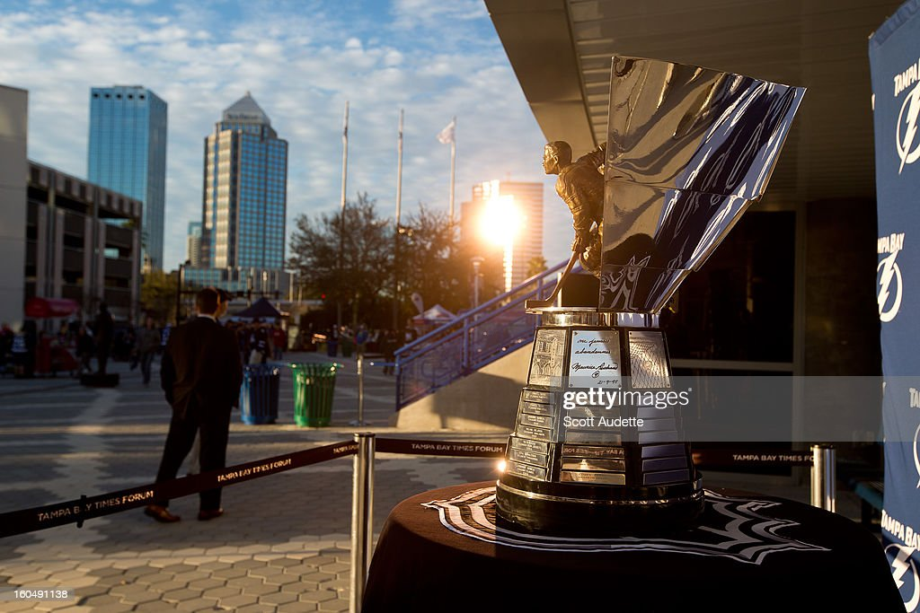 The Maurice 'Rocket' Richard Trophy sits outside the Tampa Bay Times Forum on February 1, 2013 in Tampa, Florida. The trophy was awarded to Steven Stamkos #91 of the Tampa Bay Lightning for the 2011-12 season.