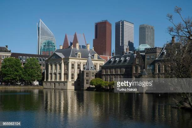 The Mauritshuis museum Binnenhof and highrise buildings are pictured on May 3 in The Hague Netherlands