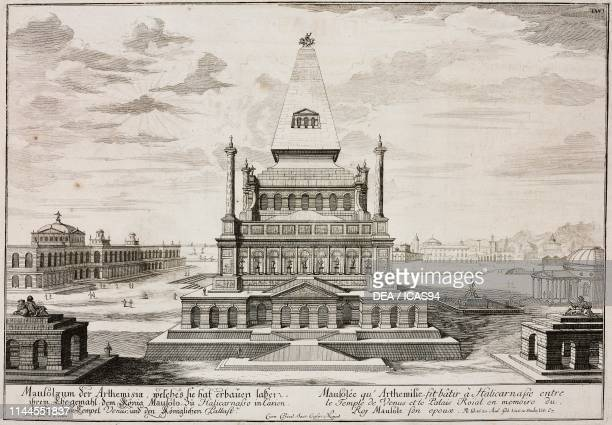 The Mausoleum at Halicarnassus one of the Seven Wonders of the Ancient World 353350 BC architect Pythius Bodrum Asia Minor Turkey engraving from...