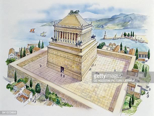 The Mausoleum of Mausolus King of Caria at Halicarnassus drawing Carian civilisation Turkey 4th century BC