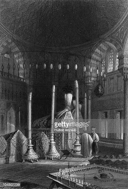The mausoleum of Ottoman sultan Suleiman II at the Suleymaniye Mosque Istanbul circa 1835 Engraving by W Radclyffe after WH Bartlett published 1838