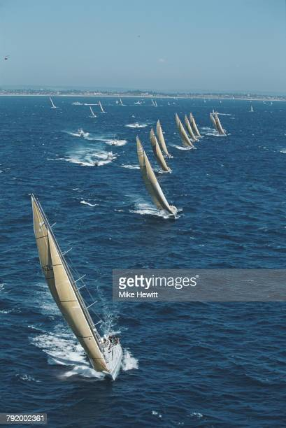 The Maxi class yacht NZ Endeavour leads the field at the start of the third leg of the Whitbread Round the World Yacht Race on 8 January 1994 off...