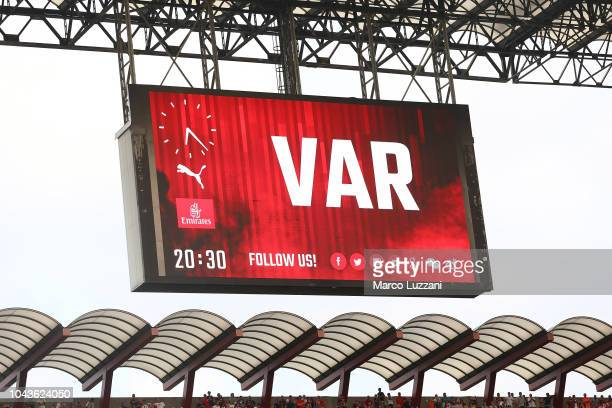 The maxi screen shows the use of var during the serie A match between AC Milan and Atalanta BC at Stadio Giuseppe Meazza on September 23 2018 in...
