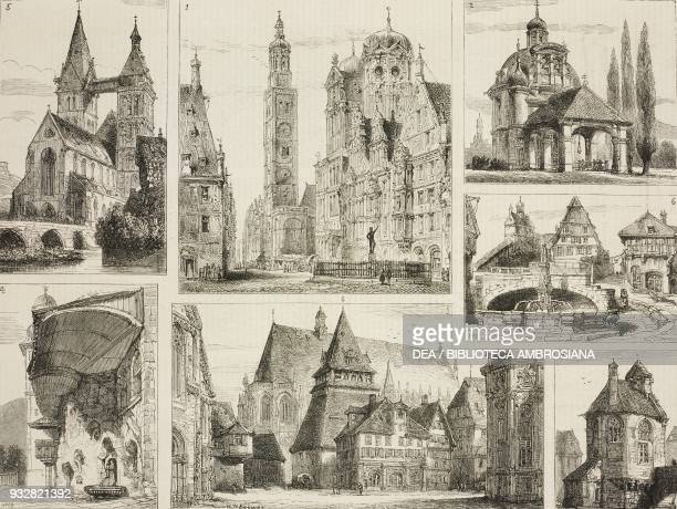 The Maximilian Strasse with the Rathaus and the Perlachturm, Augsburg, 2) the Pilgrimage Church, Friedberg, 3) St John's Church, Schwabisch Gmund, 4)...
