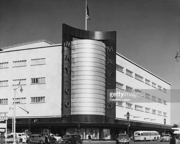 The May Co Department Store at Fairfax Ave and Wilshire Boulevard Los Angeles circa 1945 The building was designed by architects Albert C Martin and...