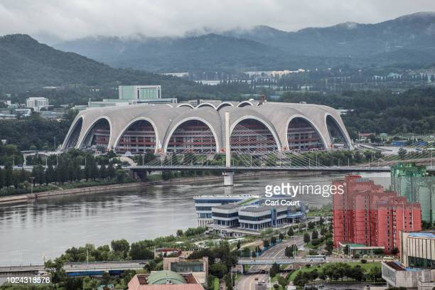 The May Day Stadium the largest stadium in the world with a capacity of 114 is pictured from the viewing platform of the Juche Tower on August 24...