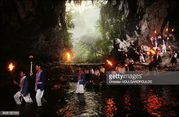 The Maya descendants crossing the sacred river Candelaria
