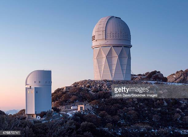 The Mayall Observatory sits atop Kitt Peak at sunset, Arizona.