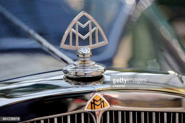 The Maybach mascot is seen during a press preview before a mass auction of vintage vehicles organised by Bonhams auction house at the Grand Palais on...