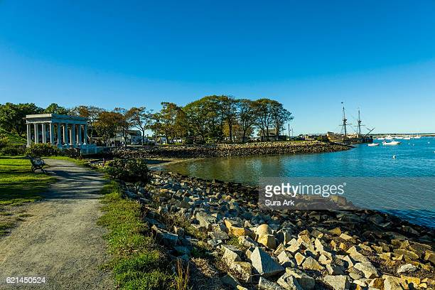 the mayflower at pilgrim memorial state park, plymouth, massachusetts. - plymouth massachusetts stock photos and pictures