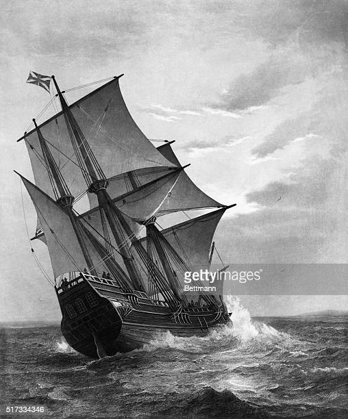 The Mayflower Engraving published by John A Lowell after Marshall Johnson BPA2# 5132