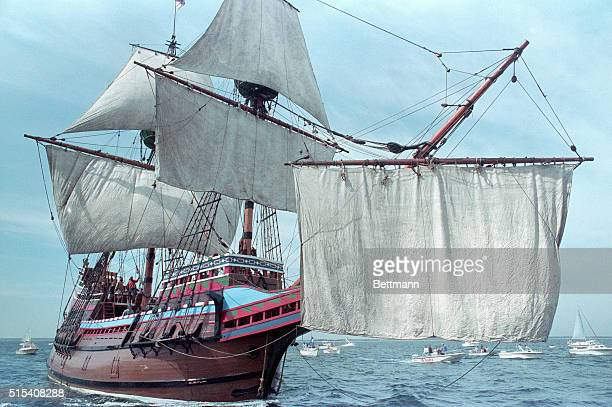 The Mayflower II a replica of the original sailing ship theMayflower sets sail for the first time in nearly 30 years during the annual turnaround...