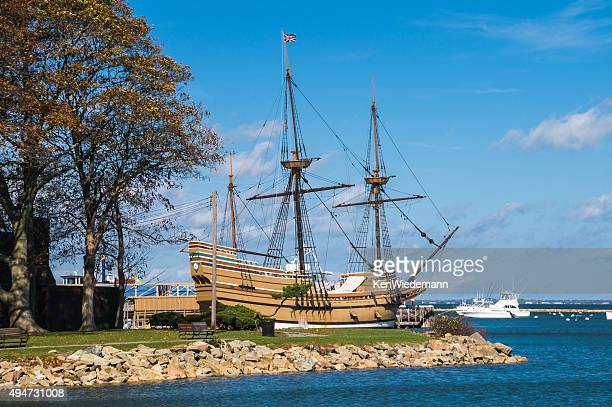 the mayflower ii in plymouth harbor - plymouth massachusetts stock photos and pictures