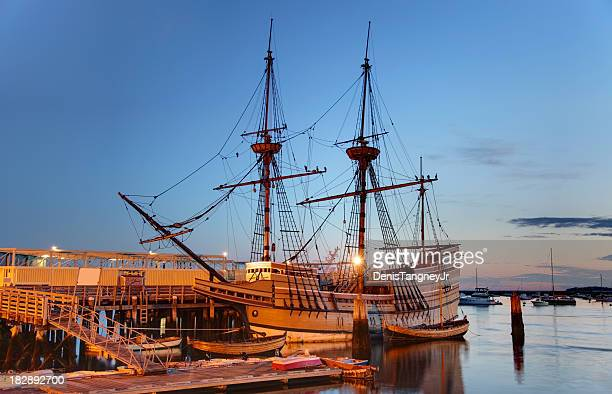 the mayflower ii - plymouth massachusetts stock photos and pictures