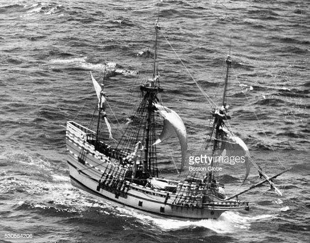 The Mayflower II sails in choppy seas through adverse winds about 130 miles south of Nantucket Light Ship on its way from Plymouth England to...