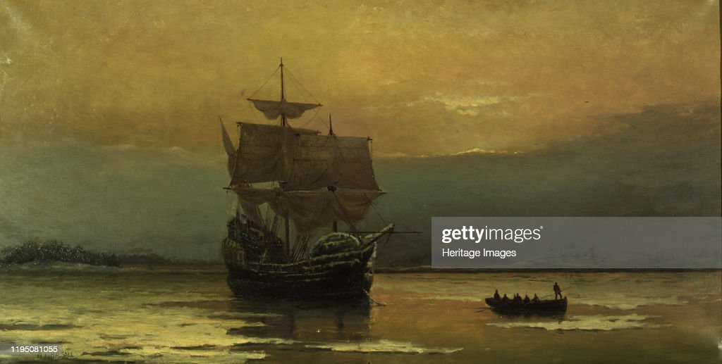 The Mayflower On Her Arrival At Plymouth Harbor : News Photo