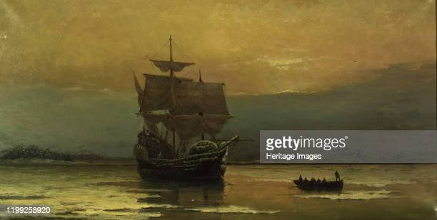The Mayflower on Her Arrival at Plymouth Harbor, 1882. Found in the Collection of Pilgrim Hall Museum. Artist Halsall, William Formby .