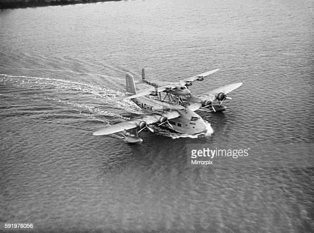 The Mayo composite aircraft seen here during taxiing trials along the River Medway 19th January 1938