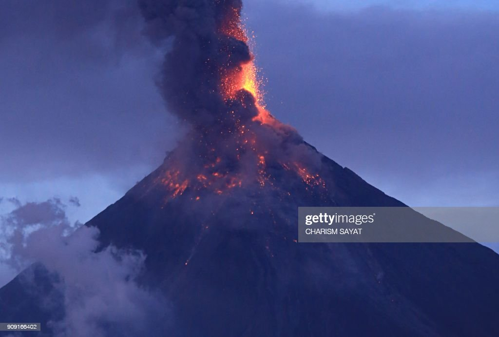 More than 40,000 people have fled as lava fountains shoot from Philippine volcano