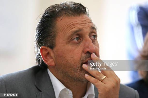 The mayor candidate of the political party Fratelli d'Italia Luigi Petrella during a political meeting for the local elections with Giorgia Meloni in...