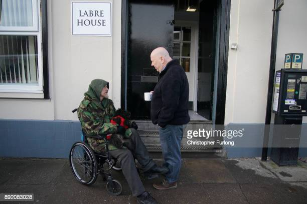 The Mayor Liverpool Joe Anderson chats to homless man Jason outside the new Labre House rough sleepers shelter on December 12 2017 in Liverpool...