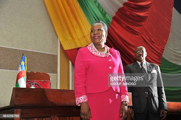The mayor of Bangui, Catherine Samba-Panza, poses after being elected interim president of the Central African Republic on January 20 in Bangui....