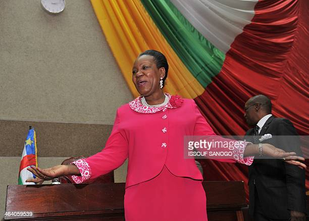 The mayor of Bangui, Catherine Samba-Panza, speaks after being elected interim president of the Central African Republic on January 20 in Bangui....