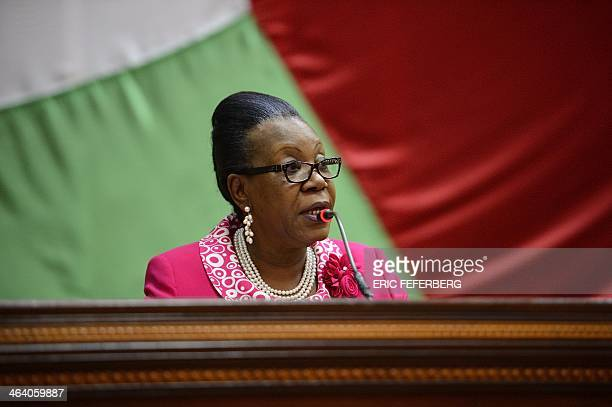 The mayor of Bangui, Catherine Samba-Panza, speaks to members of the National Transitional Council after being elected interim president of the...