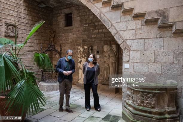 The mayor of Barcelona Ada Colau and the deputy mayor of Culture Joan Subirats in the courtyard of the Museu Frederic Marès during their visit to the...