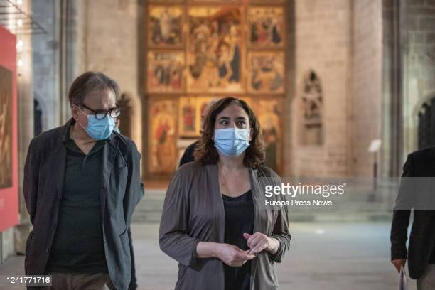 The mayor of Barcelona Ada Colau and the deputy mayor of Culture Joan Subirats inside the Museu d'Història de Barcelona during their visit to the...