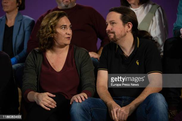 The mayor of Barcelona, Ada Colau , and the general secretary of Unidas Podemos, Pablo Iglesias , are seen during the central act of 'los comuns' on...